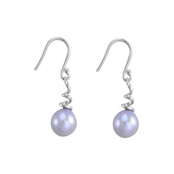Sterling Silver Gray Freshwater Pearl Dangle Earrings Twisted Coil Shape Design
