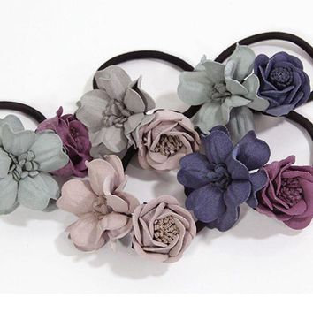 1pc New Fashion Women Hair Ropes Beauty Simulation Flowers Elastic Hair Bands Girls Ponytail Holder Hair Accessories Tie Gums