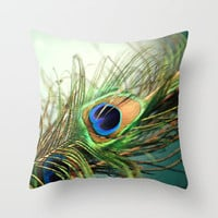 peacock feather-teal Throw Pillow by Sylvia Cook Photography