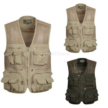 Men's Multi Pocket Mesh Vest Outdoor Fly Fishing Travel Hunting Jacket Photography Quick Dry Zip Waistcoat L-XXXXL