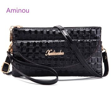 Fashion Patent Leather Women Clutch Vintage Geometric Ladies Double Zipper Purse Luxury Female Small Messenger Bag Party Handbag