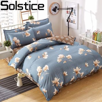 Solstice Fashion Cartoon Striped Plaid Flowers New Style Geometric Pattern Bedding Kit 3/4pcs Duvet Cover Bed Sheet Pillowcases