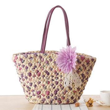 Woven Beach Bags Women Large Straw Handbags Summer Fashion Zipper 2017 Bolsa Feminina Flower Ladies Hand Bags Female New Arrival