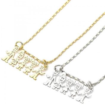 Gold Layered Fancy Necklace, Little Girl and Little Boy Design, Golden Tone