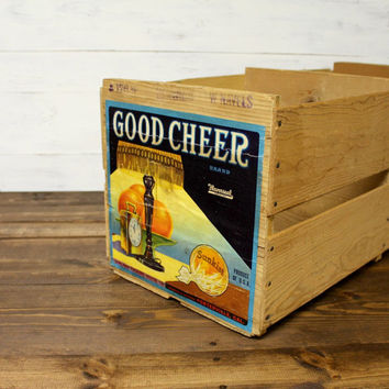 Vintage Sunkist Orange Crate - large wood crate - farmhouse - shabby chic - antique crate - farmhouse chic - cottage chic - sunkist orange