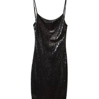 Black Sequined Spaghetti Strap Mini Dress