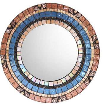 Accent Mirror, Mosaic Mirror, Round Mirror, Blue and Brown Home Decor, Wall Decor