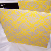 Yellow and Gray Damask fabric Binder Cover, BACK to SCHOOL, Coupon Binder/School Binder/Family Organizer Binder, GREAT teacher gift
