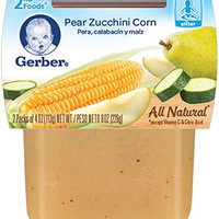 Gerber 2nd Foods Pear Zucchini Corn, 4 oz Tubs, 2 Count (Pack of 8)