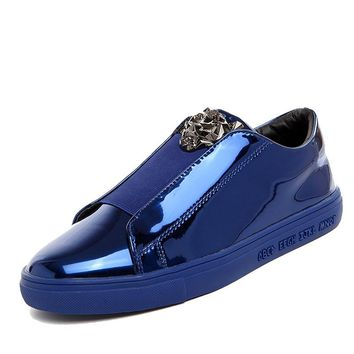 2017 Designer Version Luxury Brand Casual Shoes Men Slip On Loafers Metal Sign Versa Man Shoes Patent Leather men flats