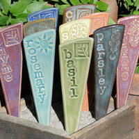 Herb Garden Markers / Plant Stakes - A Set of 3 ceramic garden markers
