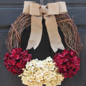 Rustic Christmas Door Hanger, Holiday Grapevine Wreath, Burgundy Red & Cream Hydrangea Wreath
