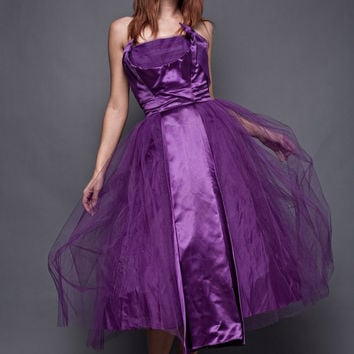 vintage 50s party dress strapless purple new look satin tulle shelf bust