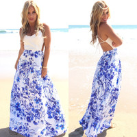 Sea Blossom Floral Maxi Dress