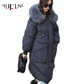 HIJKLNL Female Thick Down Jacket Women Long Winter Overcoats With Big Fur Collar 2017 New Long Down Parkas Hooded Coats PL185