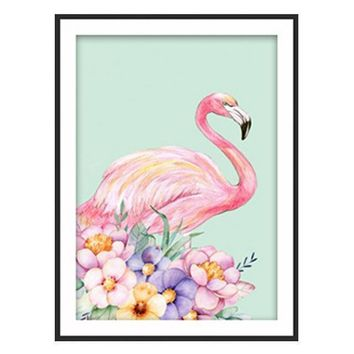 5D Diamond Painting Pink Flamingo with Flowers Kit