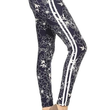 Navy Racing Stripe Yoga Style Leggings