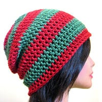 Christmas Slouchy Hat Red Green Womens Mens Hipster Oversize Slouch Beanie