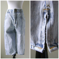 80s Acid Wash Cropped High Waisted Jeans Vintage Cigarette Pants Zipper Ankles Size 11/12 S/M Small Medium 1980s Retro Denim Blue Jean Pant