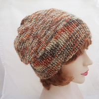 Hand Knitted Women Hat, Slouch Hat for Women, Winter Seamless Hat, Hat in Orange, Brown and Beige