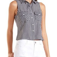 Gingham Sleeveless Button-Up Top by Charlotte Russe