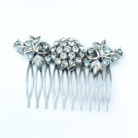 Silver Light Blue and Clear Rhinestone Hair Comb-Bridal, Wedding, Prom, Pageant