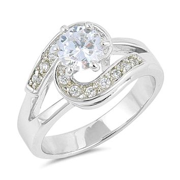 Sterling Silver Halo Twist Cubic Zirconia Engagement Ring