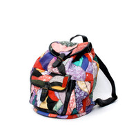 PATCHWORK multicolor leather 80s 90s BACKPACK slouchy grunge BOHEMIAN rucksack