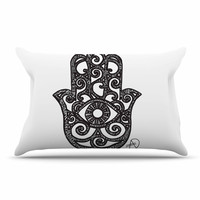 "Adriana De Leon ""Hamsa Hand"" Black White Pillow Case"