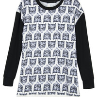 Repeat Foxes Print Contrast Sleeve Sweatshirt - Choies.com