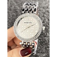 MK Stylish Women Delicate Diamond Business Movement Watch Wristwatch Silvery