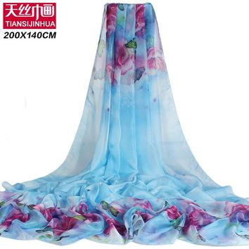200*140cm 2018 Summer Print Silk Scarf Oversized Chiffon Scarf Women Pareo Beach Cover Up Wrap Sarong Sunscreen Long Cape Female