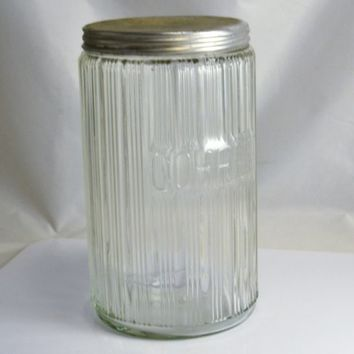 Hoosier Coffee Jar - Primitive Hoosier Cabinet Storage Jar - Ribbed Glass Embossed COFFEE Original Lid