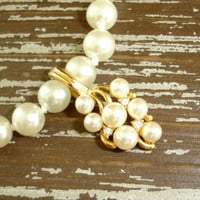 """White Glass Pearl Necklace with Rhinestone and Pearl Enhancer by Roma, Single Strand 18"""" Hand Knotted Faux Pearls, Estate Bridal Jewelry"""