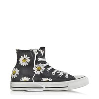 Converse Limited Edition Designer Shoes Chuck Taylor All Star Black and Citrus Daisy Printed Canvas High Top Sneaker