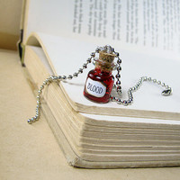 Blood 0.5ml Glass Bottle Necklace - Red Cork Vial Halloween Charm