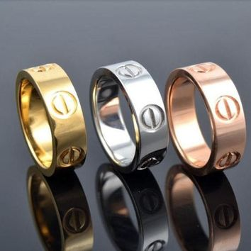 DCCKUNT Vintage Jewelry Screw Shape 3 Color Stainless Steel Unisex's Lover's Ring