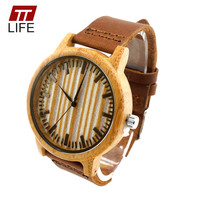 TTLIFE Wooden Watch Genuine Cowhide Leather Men and Women Quartz Watches Stainless Steel Case Leather Strap Clock With Metal Box