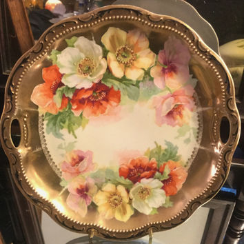 Unger & Schilde Scalloped Hand Painted Porcelain German Platter with Gold