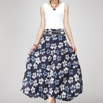 Retro Women Printing pants cotton and linen casual loose floral pants
