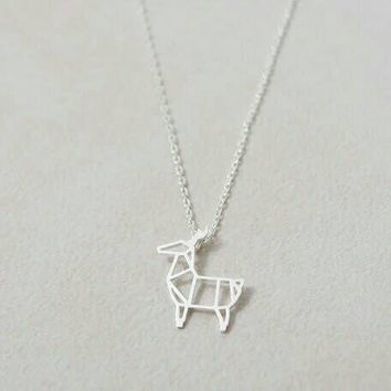 Dainty Origami Necklace - Small Deer Necklace - PREORDER