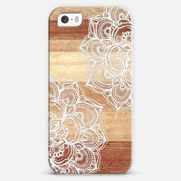 White Doodles on Blonde Wood iPhone 5s case by Micklyn Le Feuvre | Casetagram