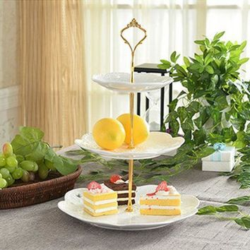 1 Sets 3 Tier Cake Plate + 3 Tier Cake Plate Stand Handle Crown Fitting Metal