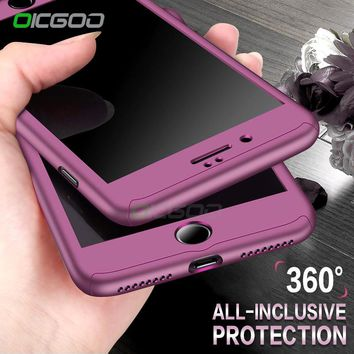 OICGOO 360 Degree Full Body Hard Cover Case For iPhone Hybrid Shockproof  With Tempered Glass