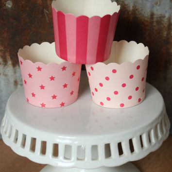 20 Pink Hot Pink Cupcake Cups -- stars -- dots -- stripes