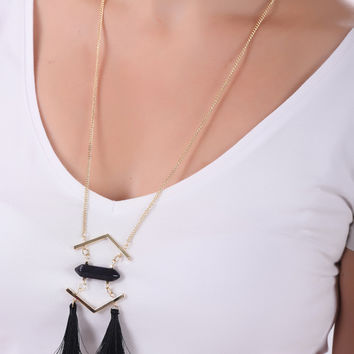 Black Stone Tasseled Long Chain Necklace