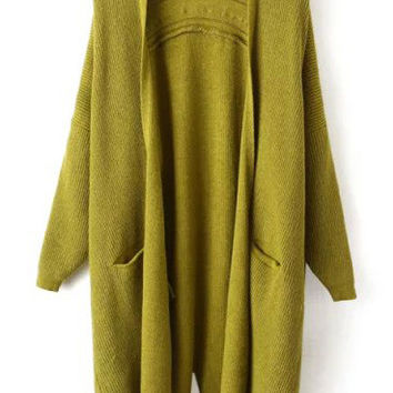 Green Long Sleeve Slit Pockets Coat