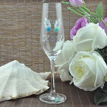 Sets of 2, Personalized/Customized, Crystal Wedding Toasting Flutes