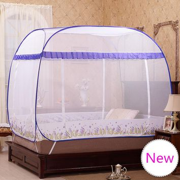 Folding Portable Mosquito Nets For Sale,Quadrate Mosquito Net for Double Bed,Mosquito Net Lace,Blue and Purple Bed Canopies Adul