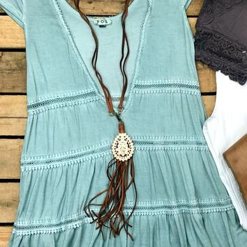 Misty Harbor Cap Sleeve Plunging V-Neck Top - Mint